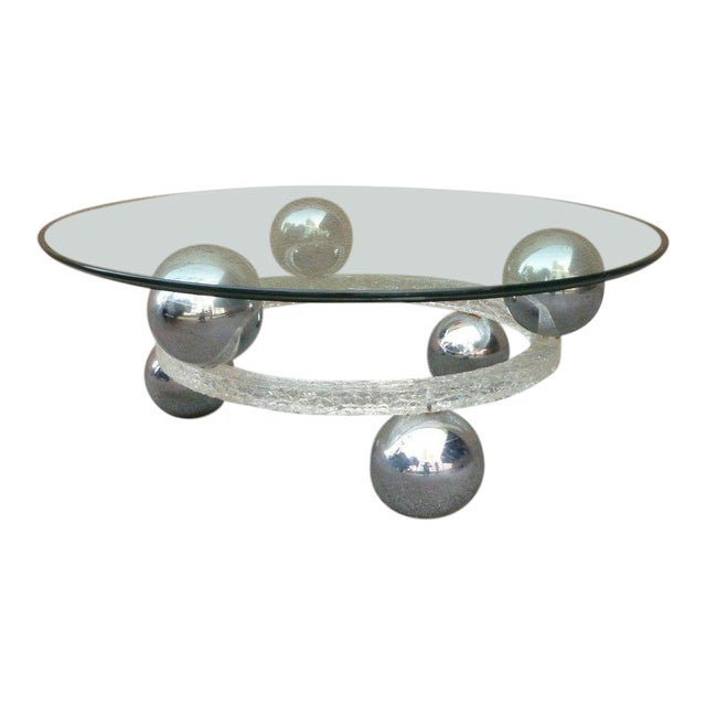 70's Round Cracked Ice Lucite and Spaced Chrome Balls Coffee Table For Sale