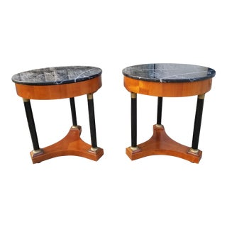 Italian Empire Style Marble Top Side Tables - A Pair