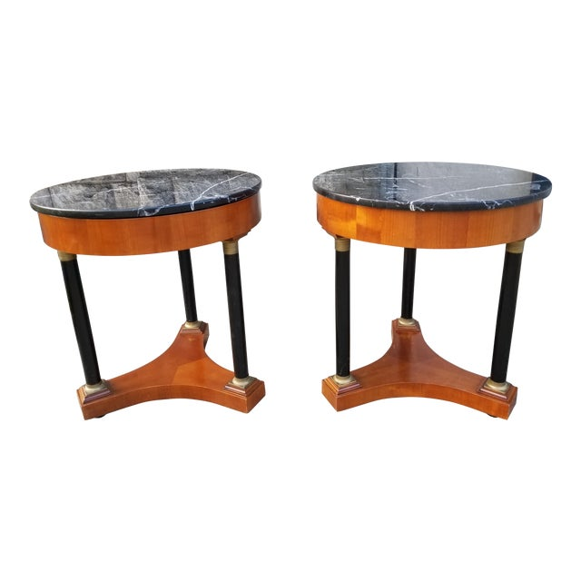 Italian Empire Style Marble Top Side Tables - A Pair For Sale
