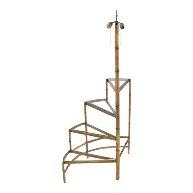 Mid-Century Modern Step Shelves Faux Bamboo Gilt Base Floor Lamp For Sale
