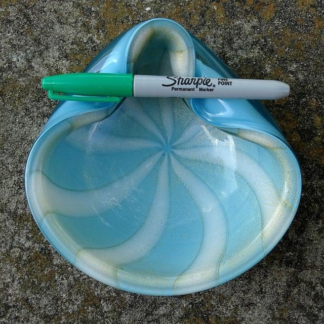 Sky Blue Alfredo Barbini Murano Blue White Gold Italian Art Glass Decorative Bowl Dish For Sale - Image 8 of 9