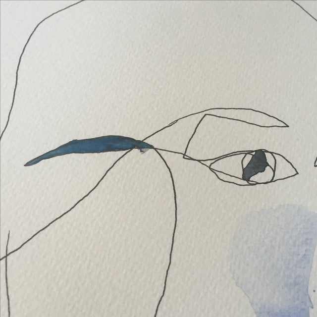Abstract Face Watercolor Painting - Image 5 of 8