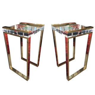 """Charles Hollis Jones, """"Box"""" Line Tables in Brass and Lucite For Sale"""