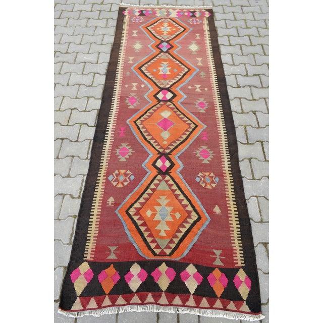 Turkish Kilim Anatolia Rug - 3′4″ × 9′5″ - Image 5 of 9