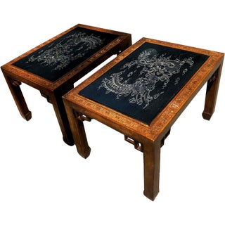 1970s Chinoiserie Carved Dragon Tables With Slate Tops - a Pair For Sale