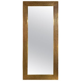 Brass Palatial Modern Hand Hammered Diamond Riveted Mirror For Sale