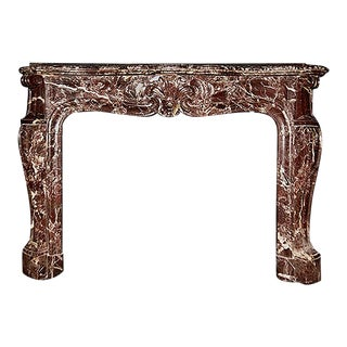Mid 19th Century Traditional Louis XV Style Marble Fireplace Mantel For Sale