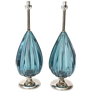 Italian Murano Seguso Sapphire Ribbed Glass and Nickel Silver Teardrop Lamps- A Pair For Sale