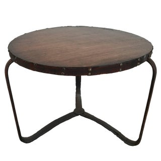 Early Jacques Adnet Stitched Leather Table For Sale