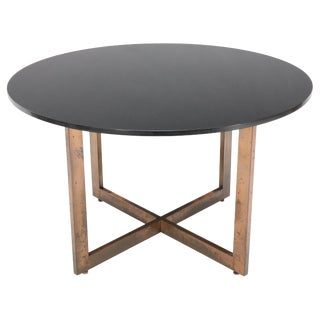 Copper Cross Base Round Thick Granite Top Dining Conference Table For Sale