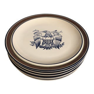 Early 20th Century Salem Stoneware Eagle Dinner Plates - Set of 6 For Sale