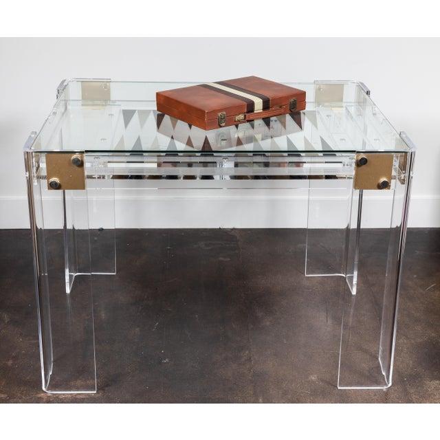 Charles Hollis Jones Lucite Backgammon Table in the Manner of Charles Hollis Jones For Sale - Image 4 of 11