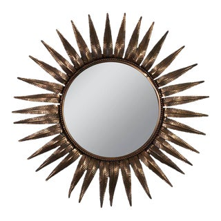 French Sunburst Mirror in Copper Plated Metal For Sale