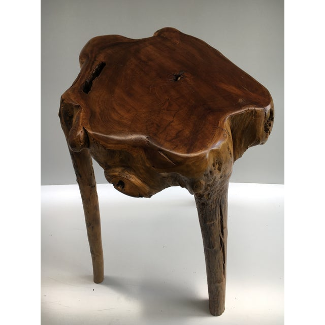 Organic Modern Tree Root Wood Pedestal Table For Sale - Image 4 of 8