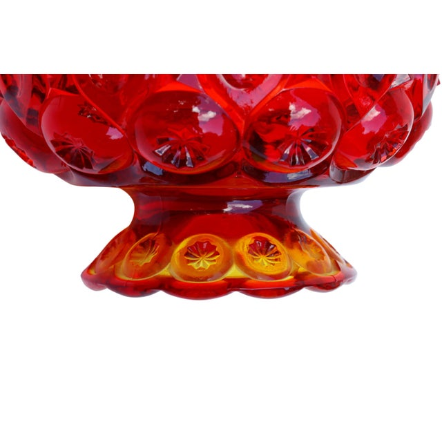 Glass L. E. Smith Amberina Lidded Glass Candy Dish For Sale - Image 7 of 8