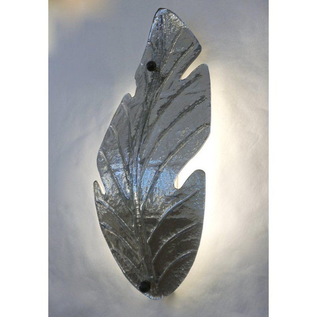 1980s vintage organic modern pair of huge Venetian leaf-shape Murano glass wall lights with Art Deco Design, stunning...