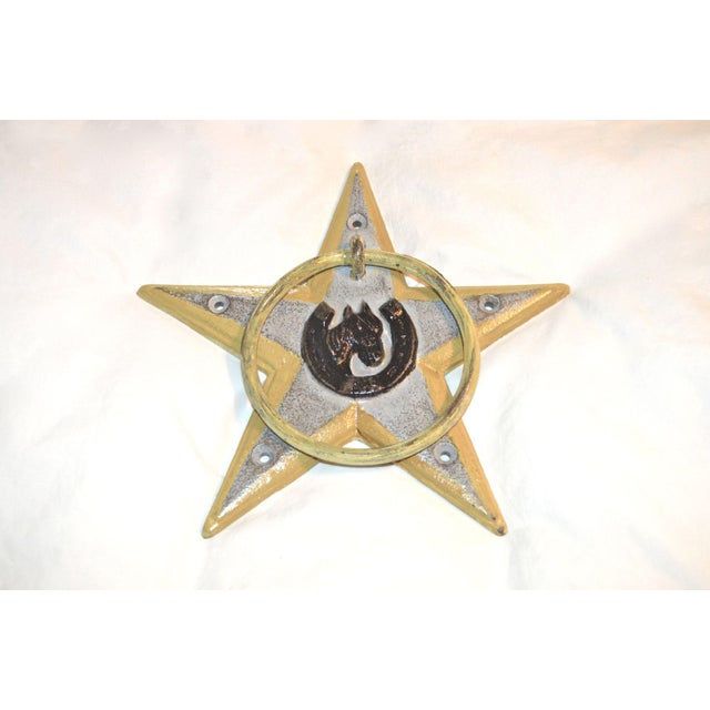 Metal Horsehoe and Star Iron Door Knocker For Sale - Image 7 of 11