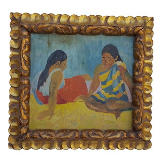 Paul Gauguin Reproduction Figural Oil On Board Painting.