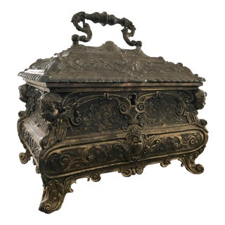 Heavy Vintage Ornately Cast Bronze Gothic Red Velvet Lined Jewelry Box