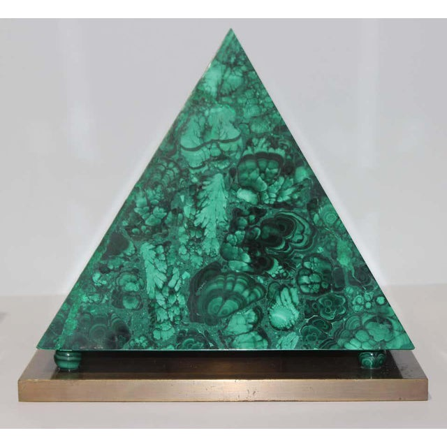 This stylish and chic three-piece malachite and bronze set of obelisks and pyramid dates to the 1970s and was created by...