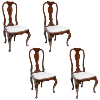 Set of Four 19th Century Queen Anne Revival Side Chairs With Slip Seats For Sale