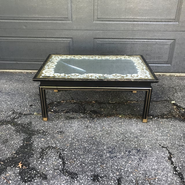 Art Nouveau Ebonized and Gold Gilted Glass Top Coffee Table by Baker Furniture For Sale - Image 10 of 10