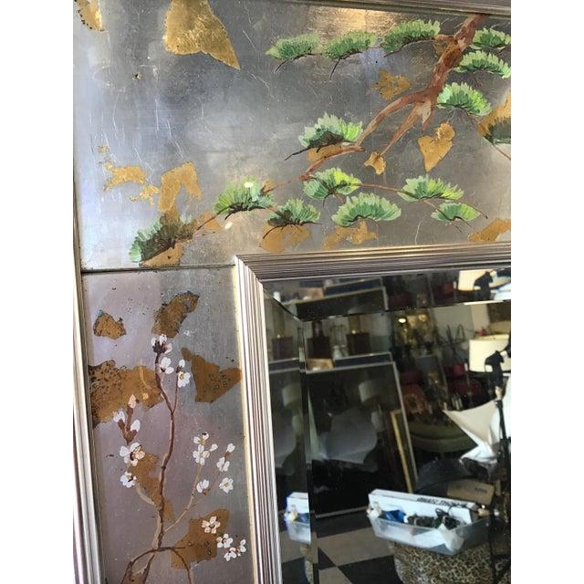 1970s La Barge Floral Silver Leaf Mirror For Sale - Image 5 of 9