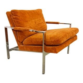 Mid-Century Modern Milo Baughman for Thayer Coggin Chrome Flat Bar Lounge Chair For Sale