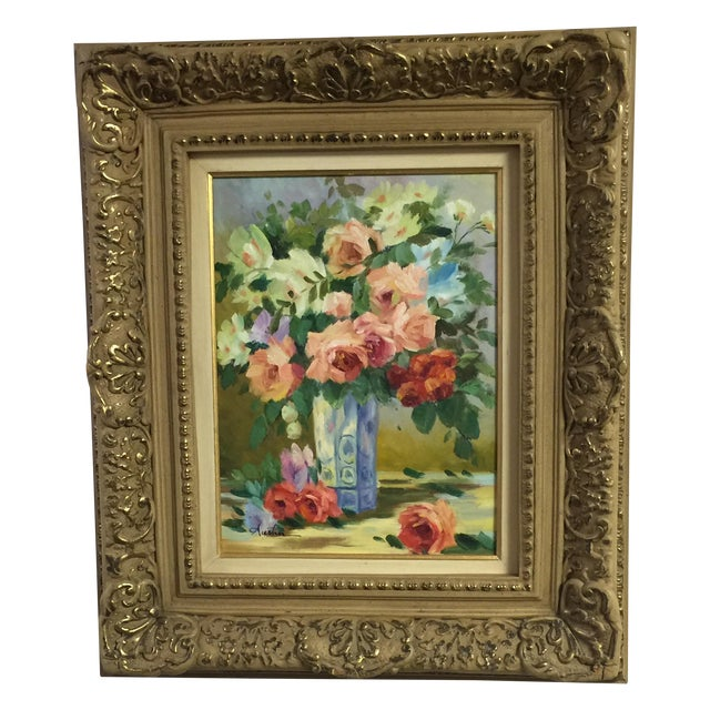 Oil on Canvas Floral Still Life Painting - Image 1 of 4