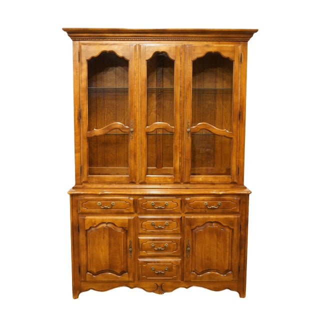 20th Century Traditional Ethan Allen Country French Collection Buffet With Lighted China Cabinet For Sale