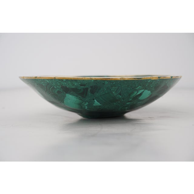 Vintage Oval Malachite Dish With Scalloped Brass Rim For Sale In West Palm - Image 6 of 10
