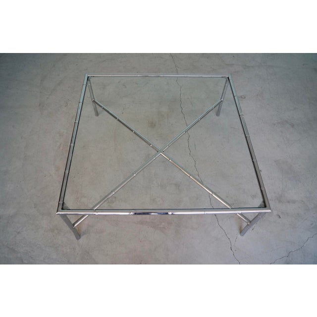 Silver 1960s Hollywood Regency Chrome Bamboo Coffee Table For Sale - Image 8 of 13