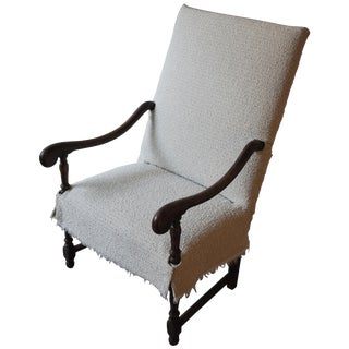 19th Century French Fauteuil Walnut Armchair With Textual Slip Cover For Sale