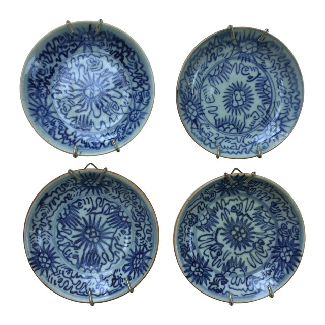 Antique Blue & White Plates, Flower Pattern - 4 - Image 1 of 11