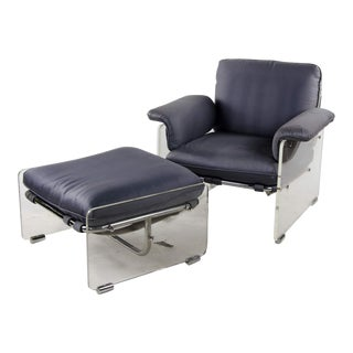 Mid-Century Modern Pace Collection Argenta Lucite Lounge Chair and Ottoman Set For Sale