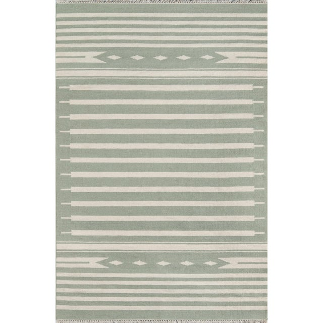 "Erin Gates by Momeni Thompson Billings Light Green Hand Woven Wool Area Rug - 3'6"" X 5'6"" For Sale"