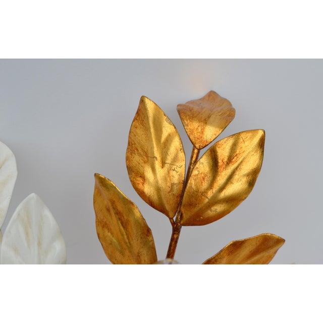 Metal Willy Daro Style Belgium Brass & Enamel Flower Flush Mount in Gold White Finish For Sale - Image 7 of 10