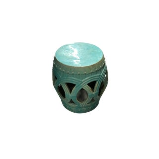 Turquoise Ceramic Glazed Garden Seat