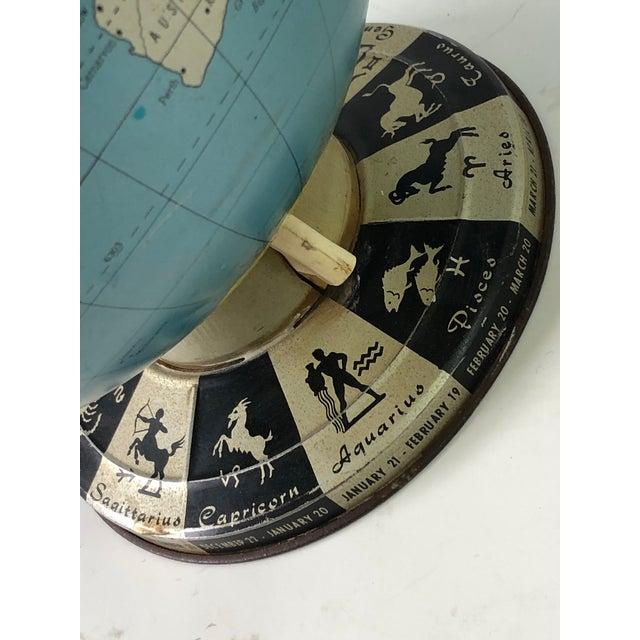 Retro Metallic World Globe With Zodiac Base For Sale - Image 12 of 13
