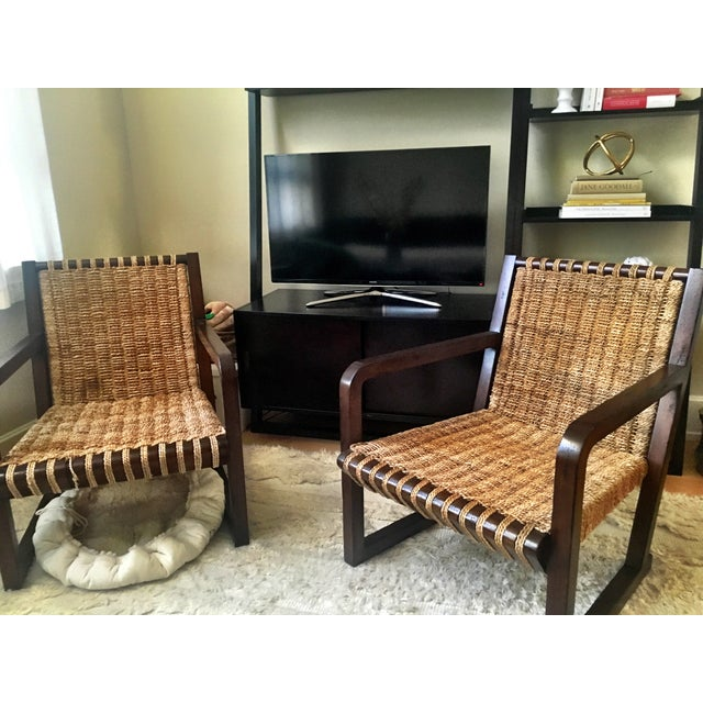 Dark Mahogany Penelope Woven Chairs - A Pair - Image 3 of 7