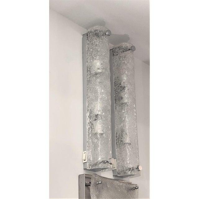 Transparent Mid-Century Modern Doria Leuchten Eisglas Sconces - a Pair For Sale - Image 8 of 13