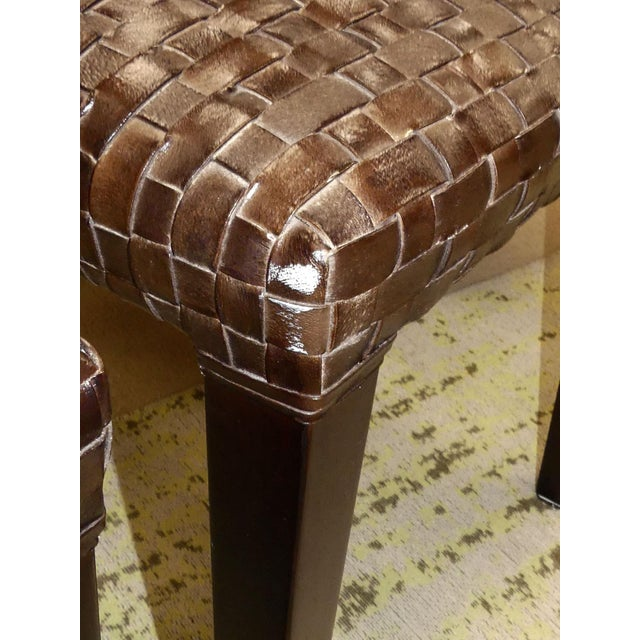 Stone International Modern Italian Woven Leather Dining Chairs- Set of 4 For Sale - Image 11 of 13