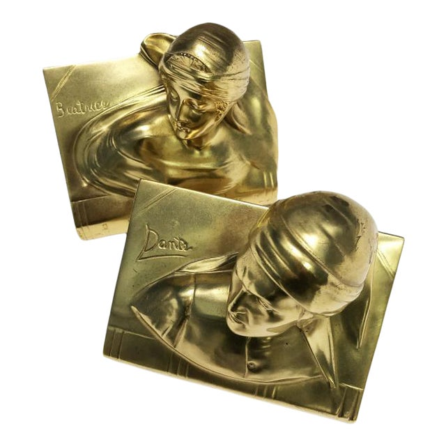 1940s Jennings Bros Dante and Beatrice Golden Bronze Bookends - a Pair For Sale
