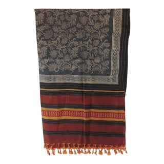 Fashion Long Sari Style Silk Floral Scarf With Tassels For Sale