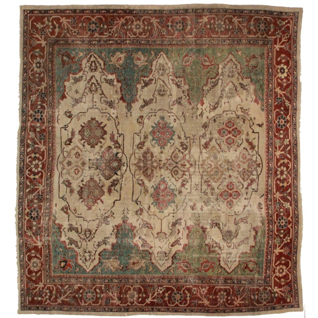 Antique Persian Sultanabad - 12′4″ × 13′9″ For Sale