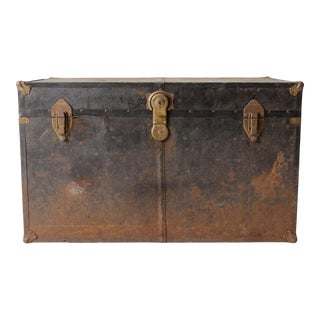 Antique Metal Trunk For Sale