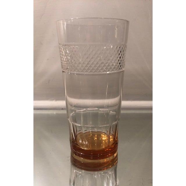 1920s Set of 6 Art Deco Antique Hawkes Amber Cut Crystal Highballs For Sale - Image 5 of 6