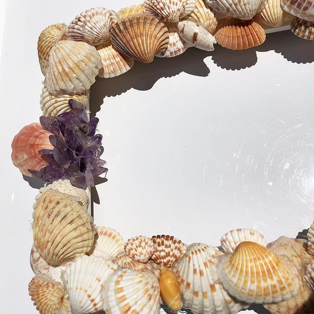 Grotto Style Purple and Pink Rectangle Shell Photo Frame With Gem Stones and Seashells For Sale - Image 6 of 7