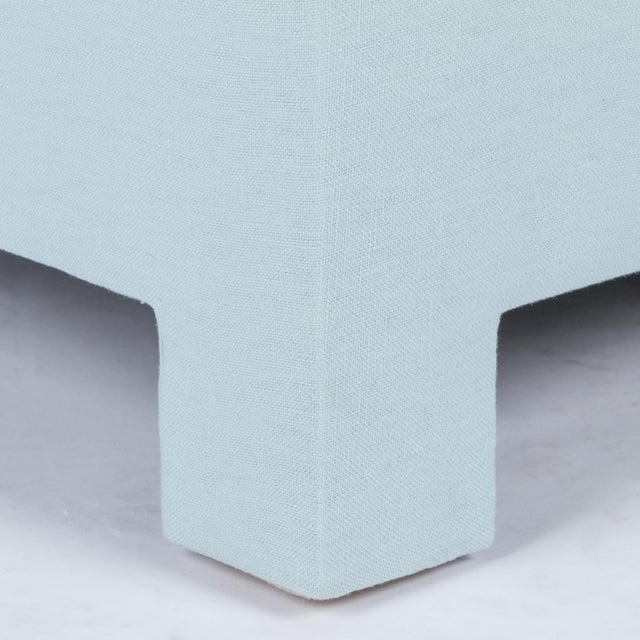 Skirted Slipper Chair in Porcelain Blue Linen For Sale In Los Angeles - Image 6 of 7