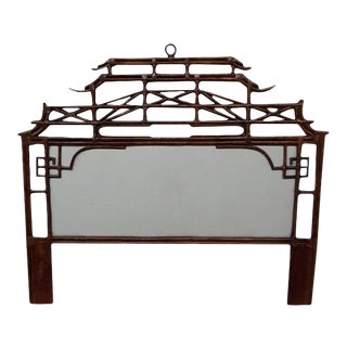 Pagoda King Headboard, Brown, Rattan For Sale